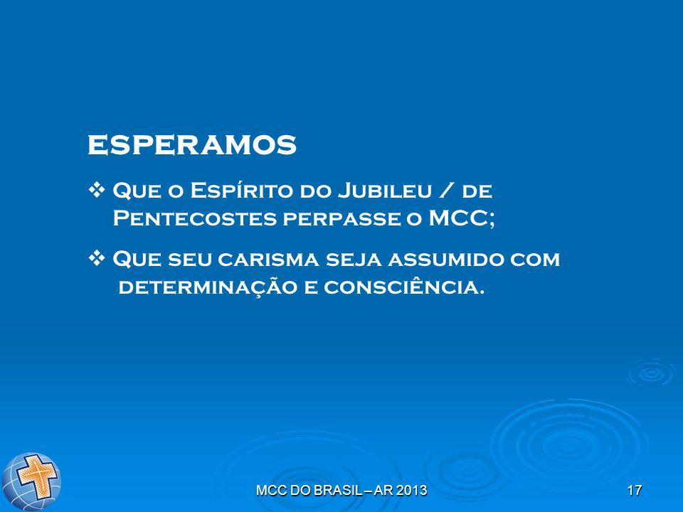 MCC DO BRASIL – AR 201317 esperamos Que o Espírito do Jubileu / de Pentecostes perpasse o MCC; Que seu carisma seja assumido com determinação e consci