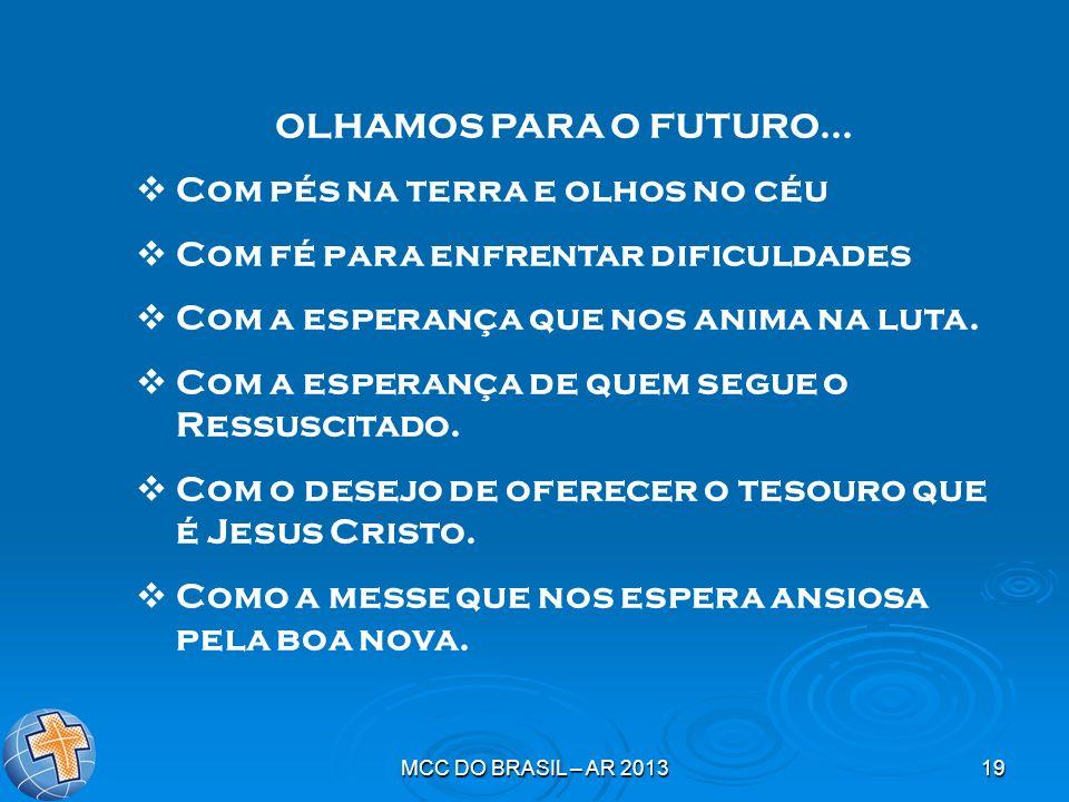 MCC DO BRASIL – AR 201319 OLHAMOS PARA O FUTURO... Com pés na terra e olhos no céu Com fé para enfrentar dificuldades Com a esperança que nos anima na