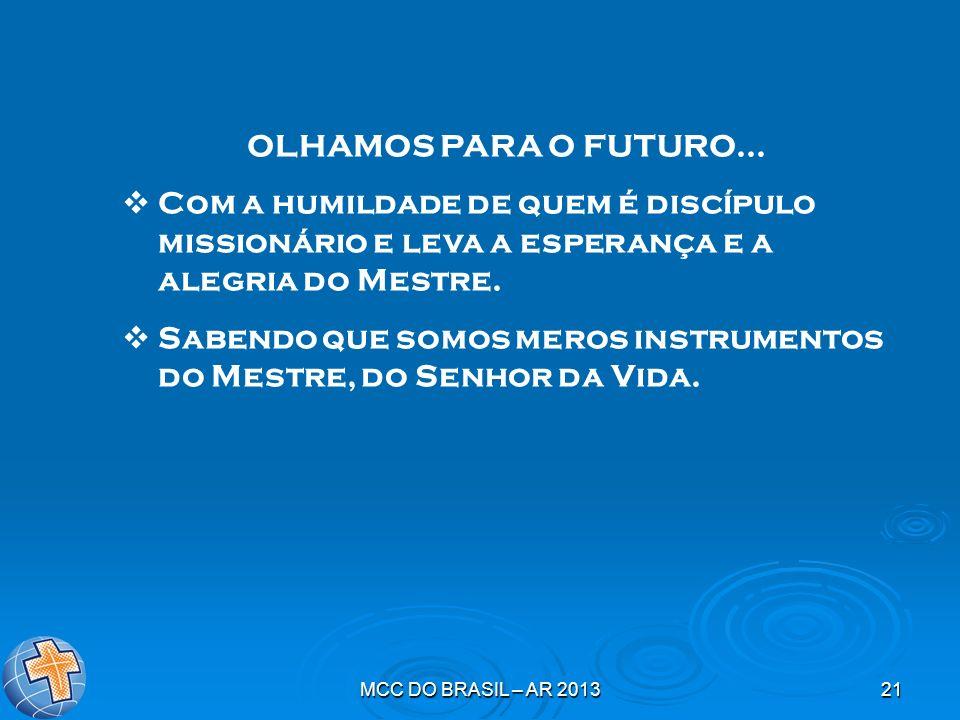 MCC DO BRASIL – AR 201321 OLHAMOS PARA O FUTURO... Com a humildade de quem é discípulo missionário e leva a esperança e a alegria do Mestre. Sabendo q