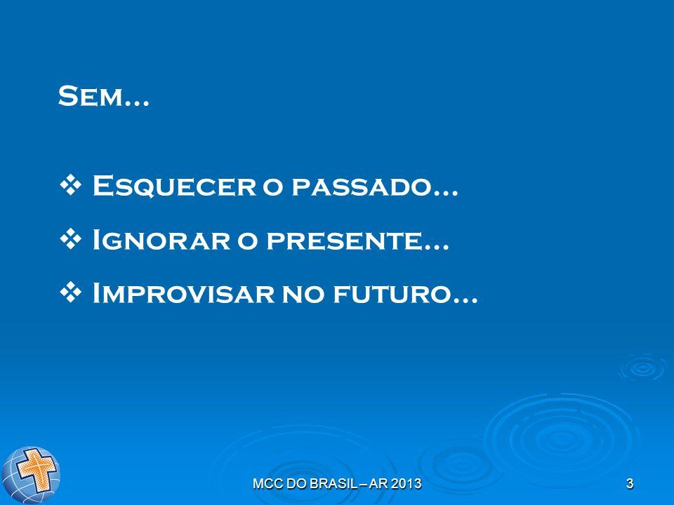 MCC DO BRASIL – AR 20133 Sem... Esquecer o passado... Ignorar o presente... Improvisar no futuro...