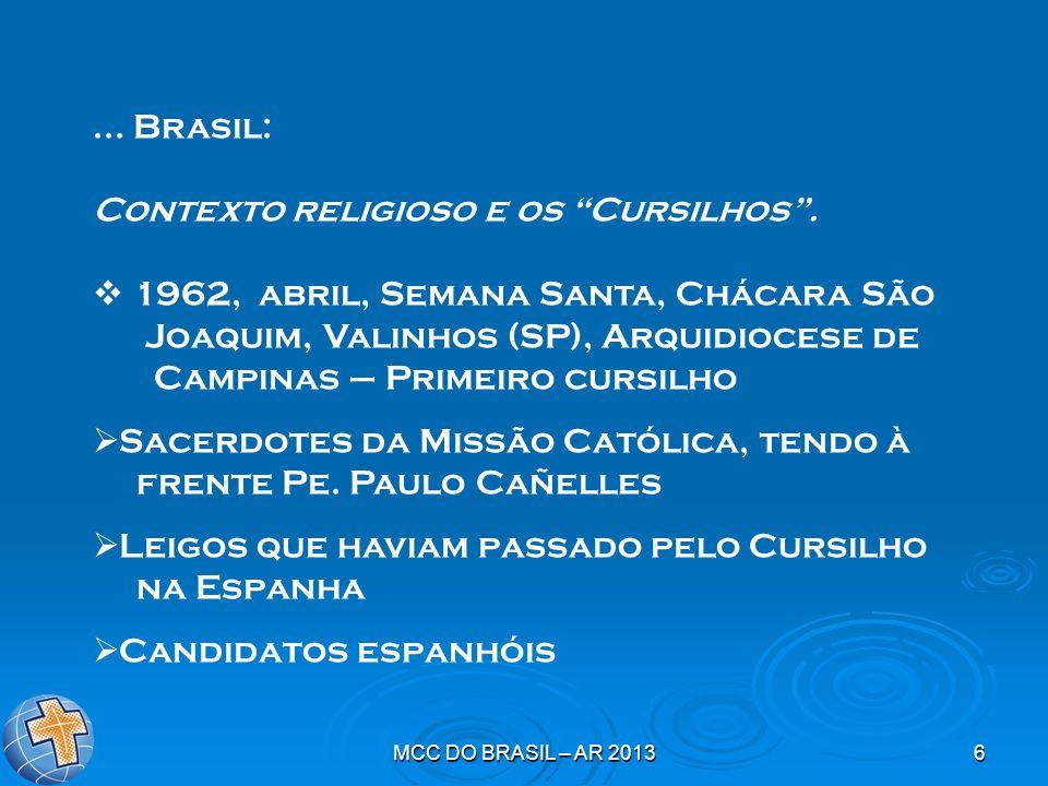 MCC DO BRASIL – AR 20136... Brasil: Contexto religioso e os Cursilhos. 1962, abril, Semana Santa, Chácara São Joaquim, Valinhos (SP), Arquidiocese de
