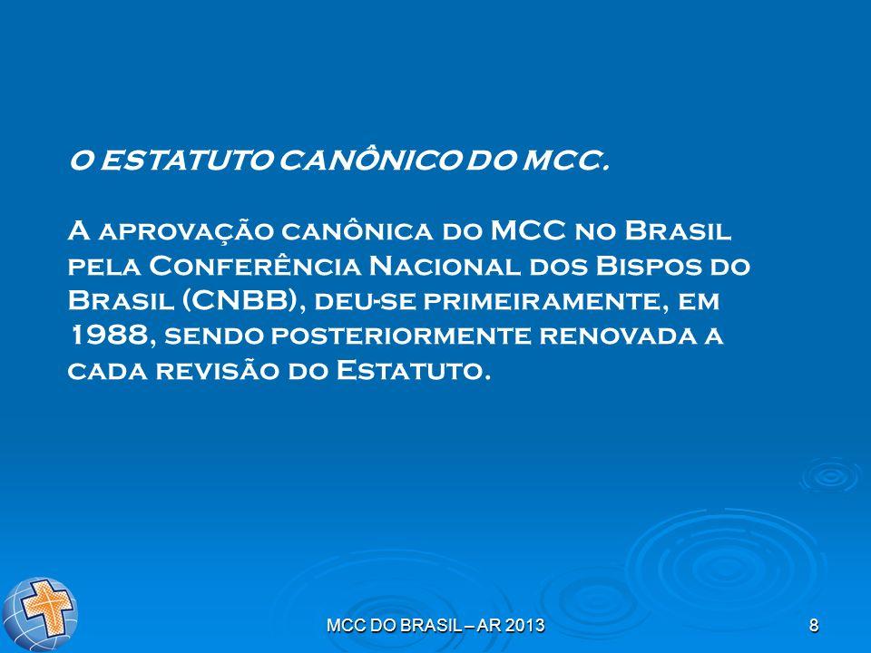 MCC DO BRASIL – AR 20138 O ESTATUTO CANÔNICO DO MCC. A aprovação canônica do MCC no Brasil pela Conferência Nacional dos Bispos do Brasil (CNBB), deu-