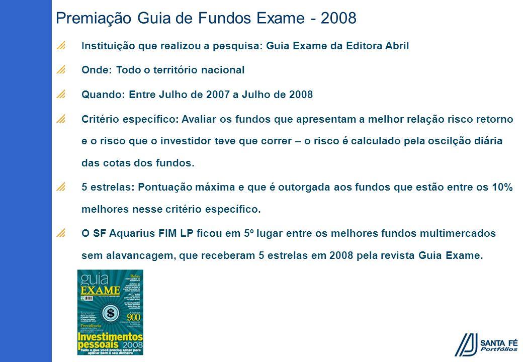 Premiação Guia de Fundos Exame - 2008 Instituição que realizou a pesquisa: Guia Exame da Editora Abril Onde: Todo o território nacional Quando: Entre