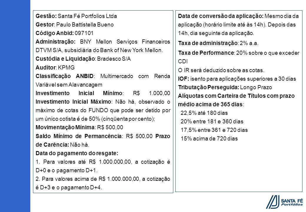 Gestão: Santa Fé Portfolios Ltda Gestor: Paulo Battistella Bueno Código Anbid: 097101 Administração: BNY Mellon Serviços Financeiros DTVM S/A, subsidi