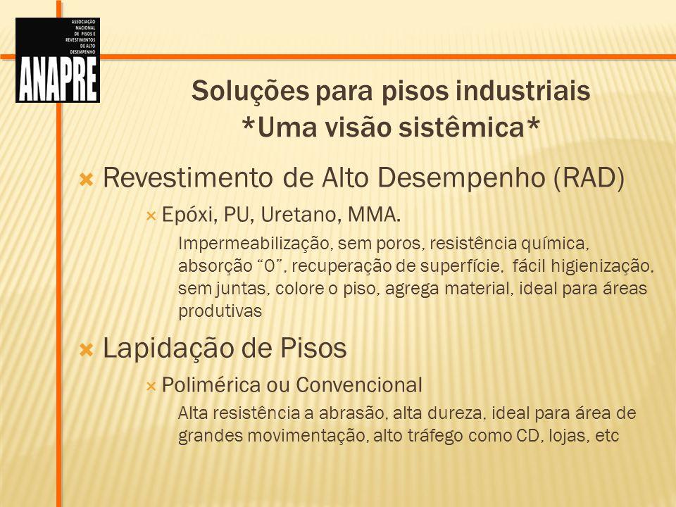 Soluções para pisos industriais *Uma visão sistêmica* Revestimento de Alto Desempenho (RAD) Epóxi, PU, Uretano, MMA. Impermeabilização, sem poros, res