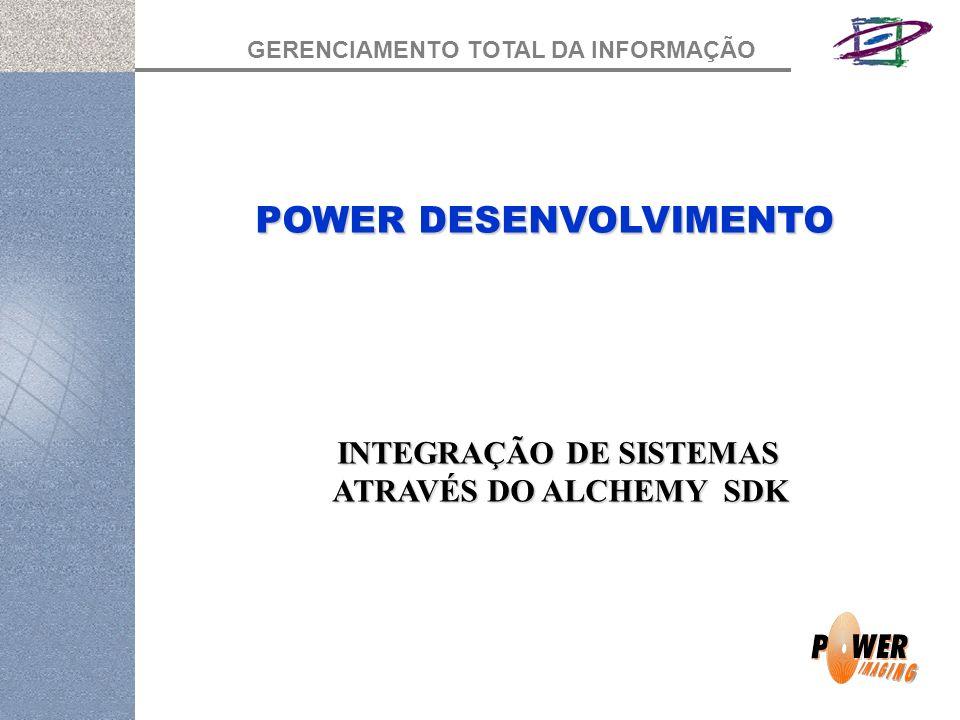 GERENCIAMENTO TOTAL DA INFORMAÇÃO POWER DESENVOLVIMENTO INTEGRAÇÃO DE SISTEMAS ATRAVÉS DO ALCHEMY SDK ATRAVÉS DO ALCHEMY SDK