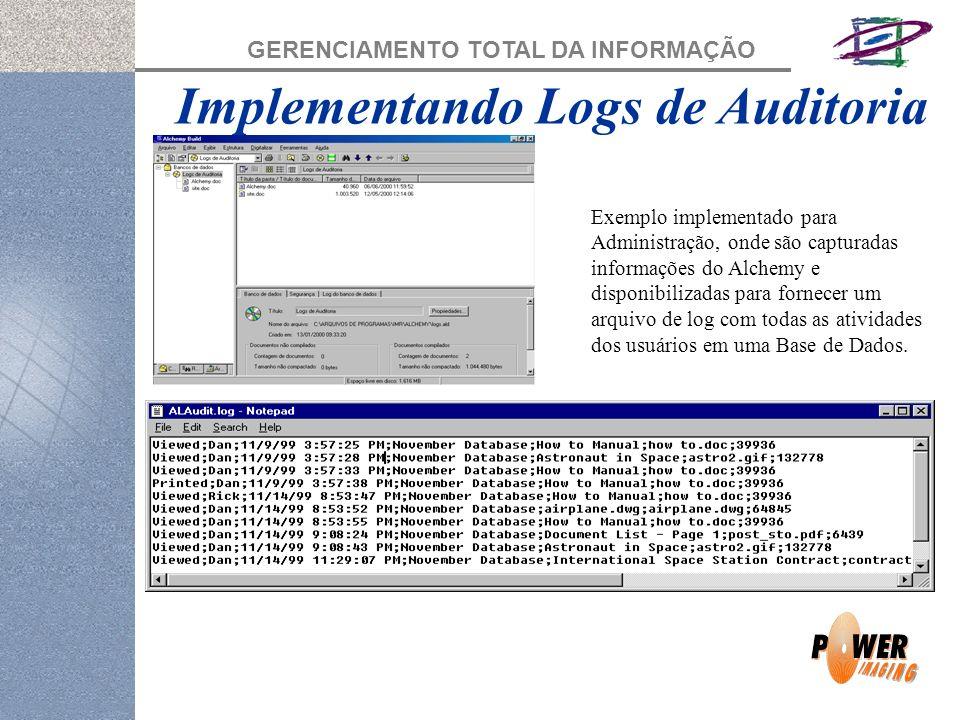 GERENCIAMENTO TOTAL DA INFORMAÇÃO Implementando Logs de Auditoria Exemplo implementado para Administração, onde são capturadas informações do Alchemy e disponibilizadas para fornecer um arquivo de log com todas as atividades dos usuários em uma Base de Dados.