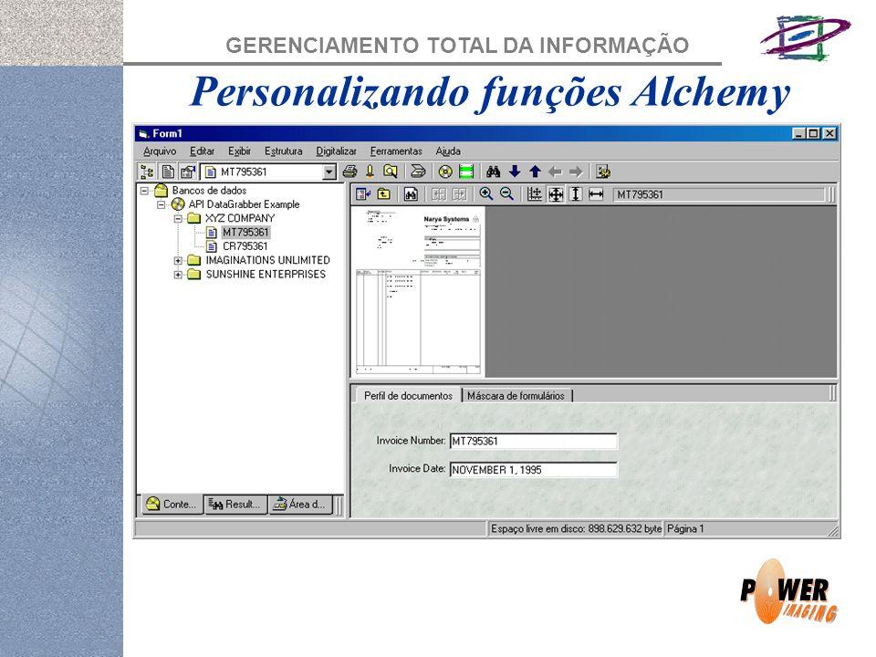 GERENCIAMENTO TOTAL DA INFORMAÇÃO Personalizando funções Alchemy