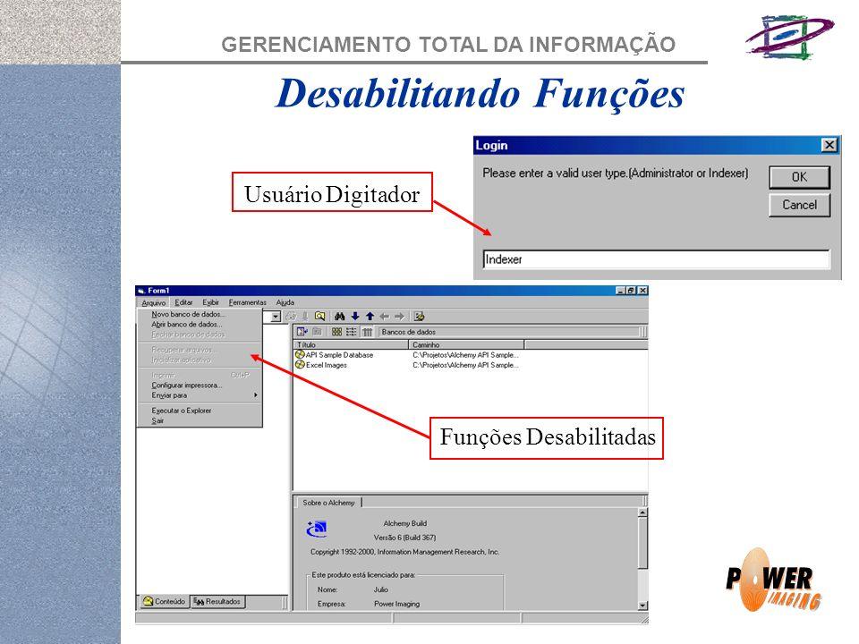 GERENCIAMENTO TOTAL DA INFORMAÇÃO Desabilitando Funções Usuário Digitador Funções Desabilitadas