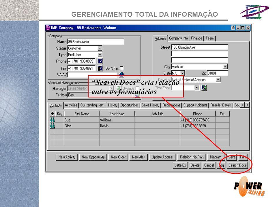 GERENCIAMENTO TOTAL DA INFORMAÇÃO Search Docs cria relação entre os formulários