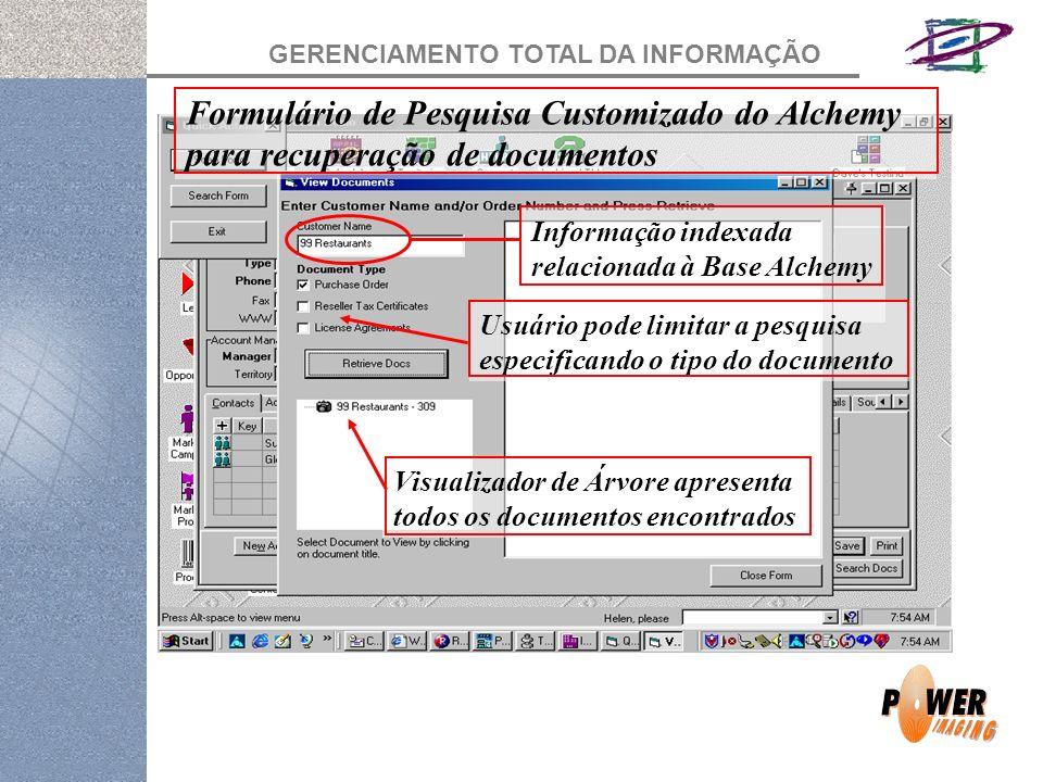 GERENCIAMENTO TOTAL DA INFORMAÇÃO Formulário de Pesquisa Customizado do Alchemy para recuperação de documentos Informação indexada relacionada à Base Alchemy Usuário pode limitar a pesquisa especificando o tipo do documento Visualizador de Árvore apresenta todos os documentos encontrados