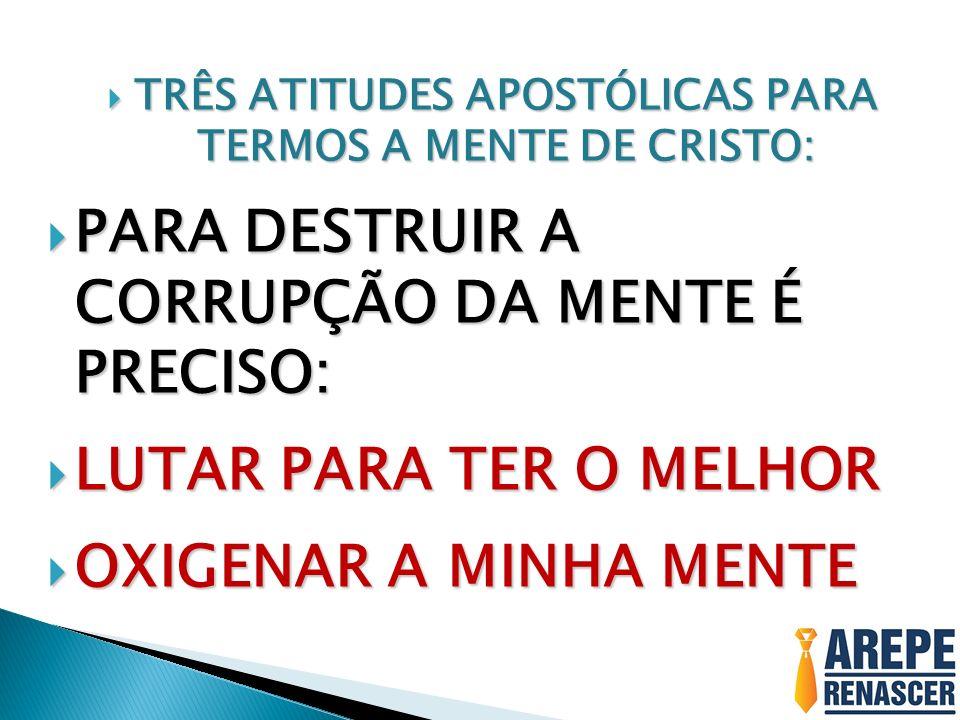 TRÊS ATITUDES APOSTÓLICAS PARA TERMOS A MENTE DE CRISTO: TRÊS ATITUDES APOSTÓLICAS PARA TERMOS A MENTE DE CRISTO: PARA DESTRUIR A CORRUPÇÃO DA MENTE É