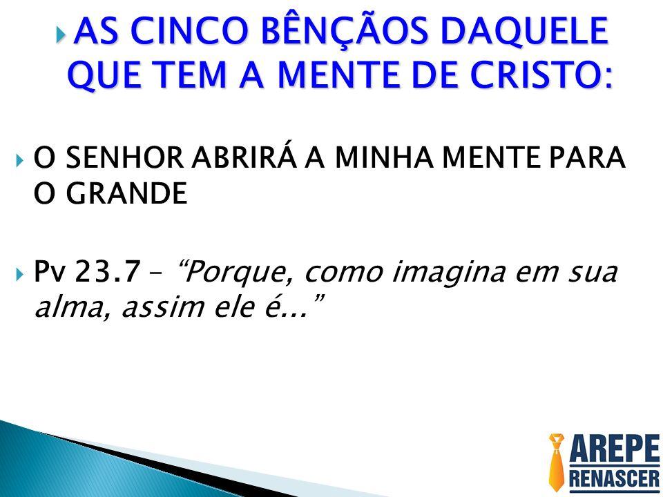AS CINCO BÊNÇÃOS DAQUELE QUE TEM A MENTE DE CRISTO: AS CINCO BÊNÇÃOS DAQUELE QUE TEM A MENTE DE CRISTO: O SENHOR ABRIRÁ A MINHA MENTE PARA O GRANDE Pv 23.7 – Porque, como imagina em sua alma, assim ele é...