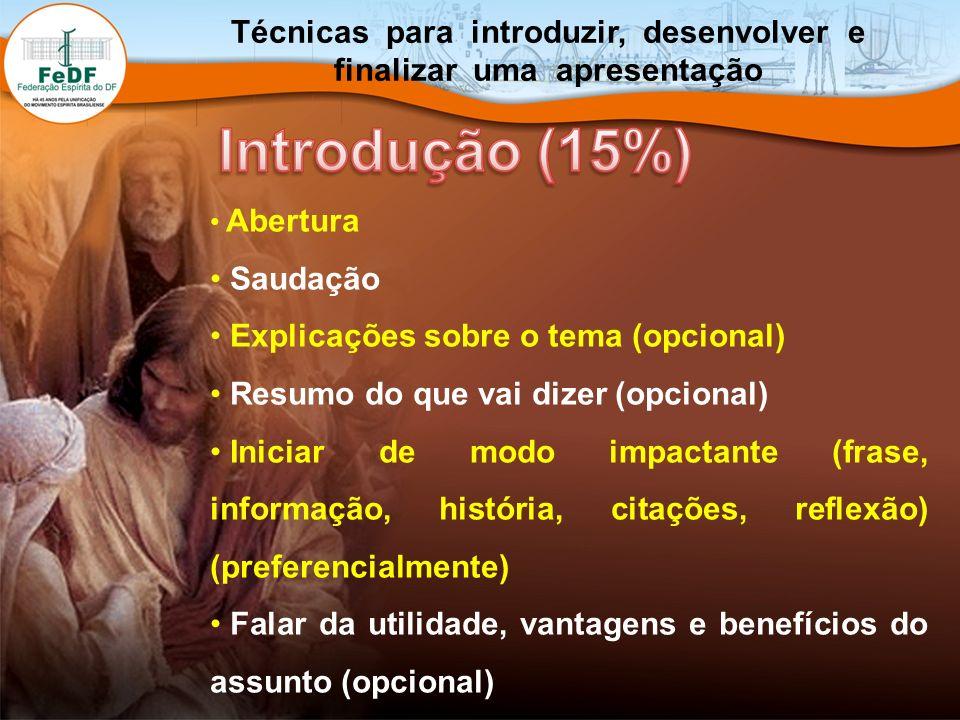 Abertura Saudação Explicações sobre o tema (opcional) Resumo do que vai dizer (opcional) Iniciar de modo impactante (frase, informação, história, cita