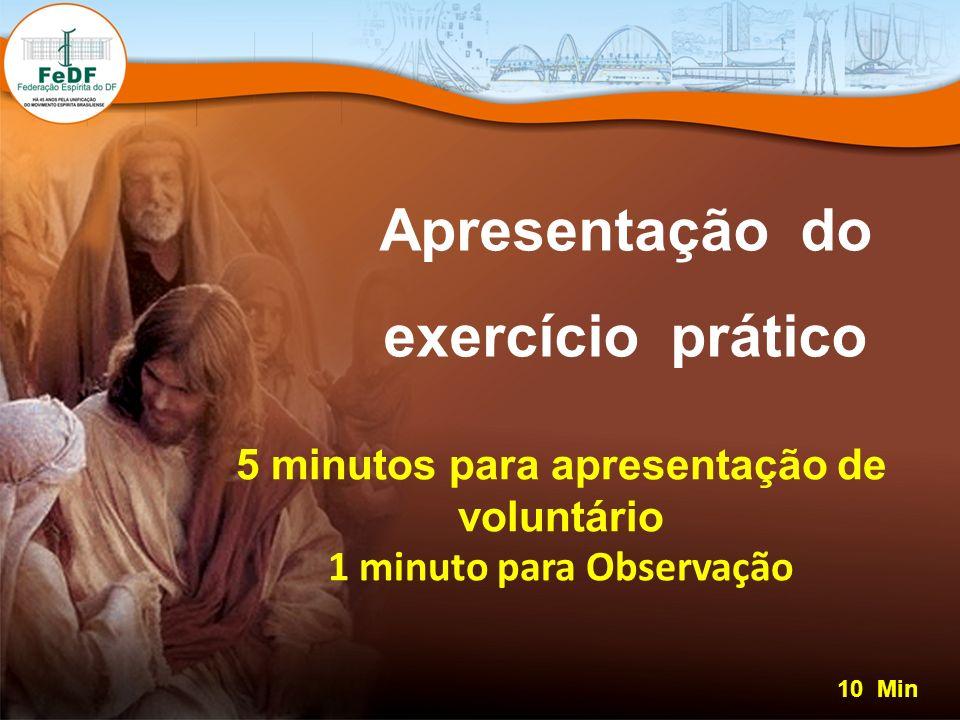 Apresentação do exercício prático 10 Min 5 minutos para apresentação de voluntário 1 minuto para Observação