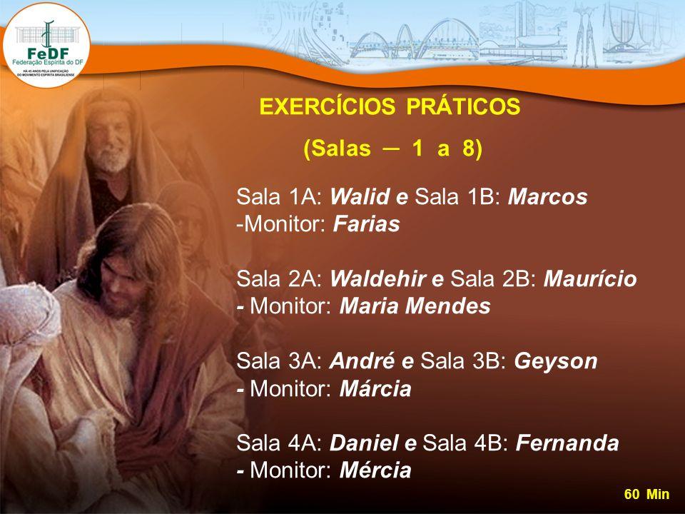 EXERCÍCIOS PRÁTICOS (Salas 1 a 8) Sala 1A: Walid e Sala 1B: Marcos -Monitor: Farias Sala 2A: Waldehir e Sala 2B: Maurício - Monitor: Maria Mendes Sala