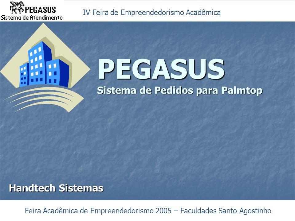 PEGASUS Sistema de Pedidos para Palmtop Feira Acadêmica de Empreendedorismo 2005 – Faculdades Santo Agostinho Handtech Sistemas IV Feira de Empreendedorismo Acadêmica