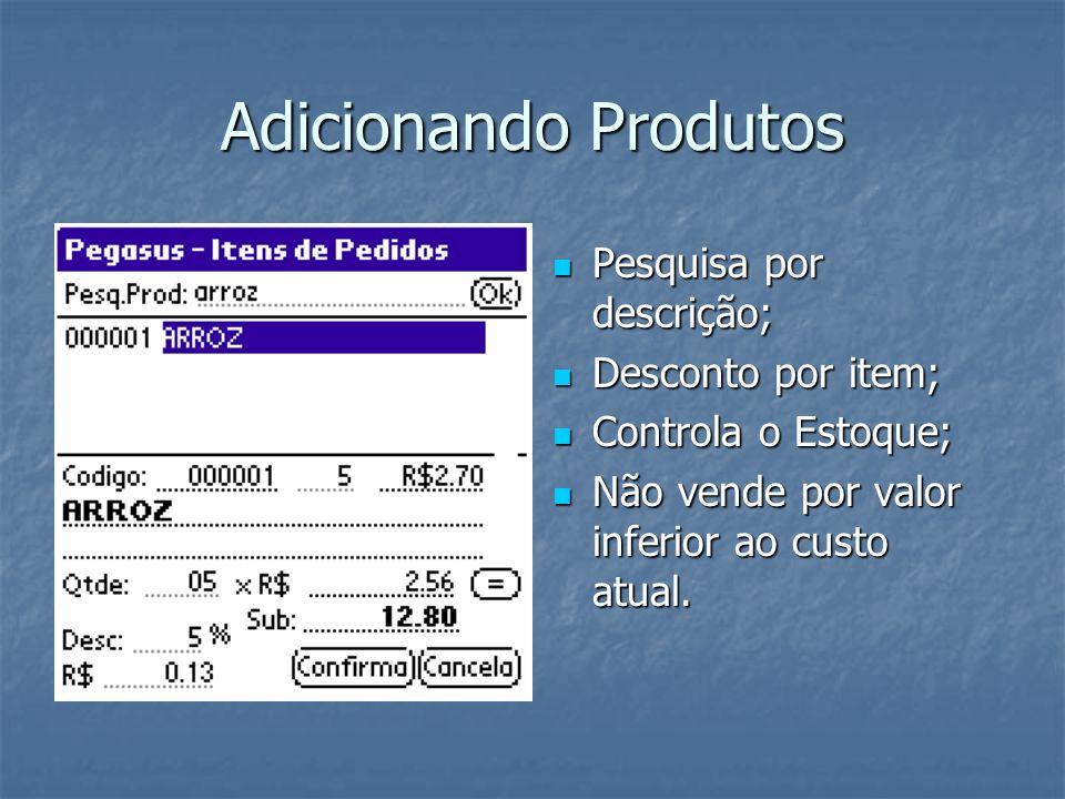 Adicionando Produtos Pesquisa por descrição; Pesquisa por descrição; Desconto por item; Desconto por item; Controla o Estoque; Controla o Estoque; Não vende por valor inferior ao custo atual.