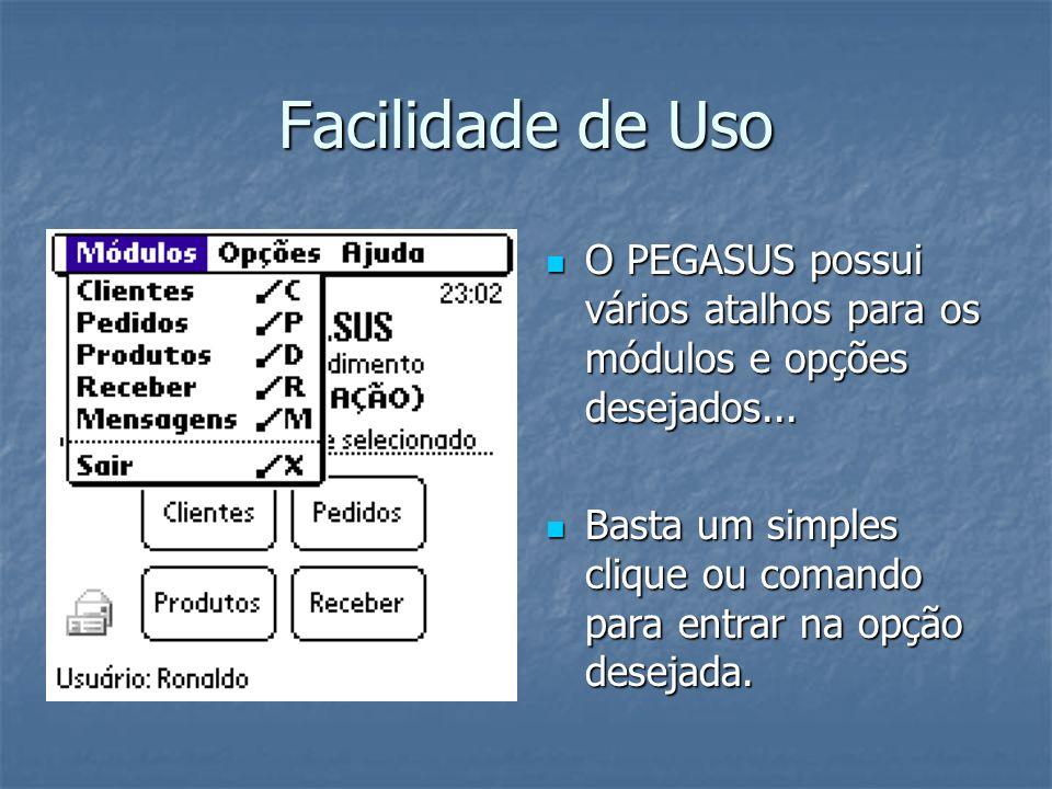 Facilidade de Uso O PEGASUS possui vários atalhos para os módulos e opções desejados...