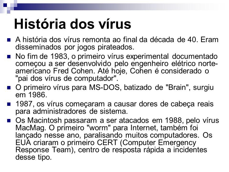 História dos vírus A história dos vírus remonta ao final da década de 40. Eram disseminados por jogos pirateados. No fim de 1983, o primeiro vírus exp