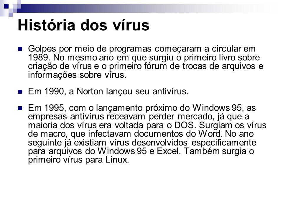 História dos vírus Golpes por meio de programas começaram a circular em 1989. No mesmo ano em que surgiu o primeiro livro sobre criação de vírus e o p