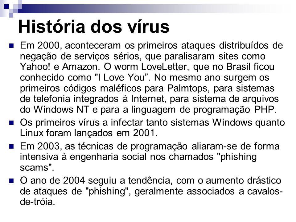 História dos vírus Em 2000, aconteceram os primeiros ataques distribuídos de negação de serviços sérios, que paralisaram sites como Yahoo! e Amazon. O