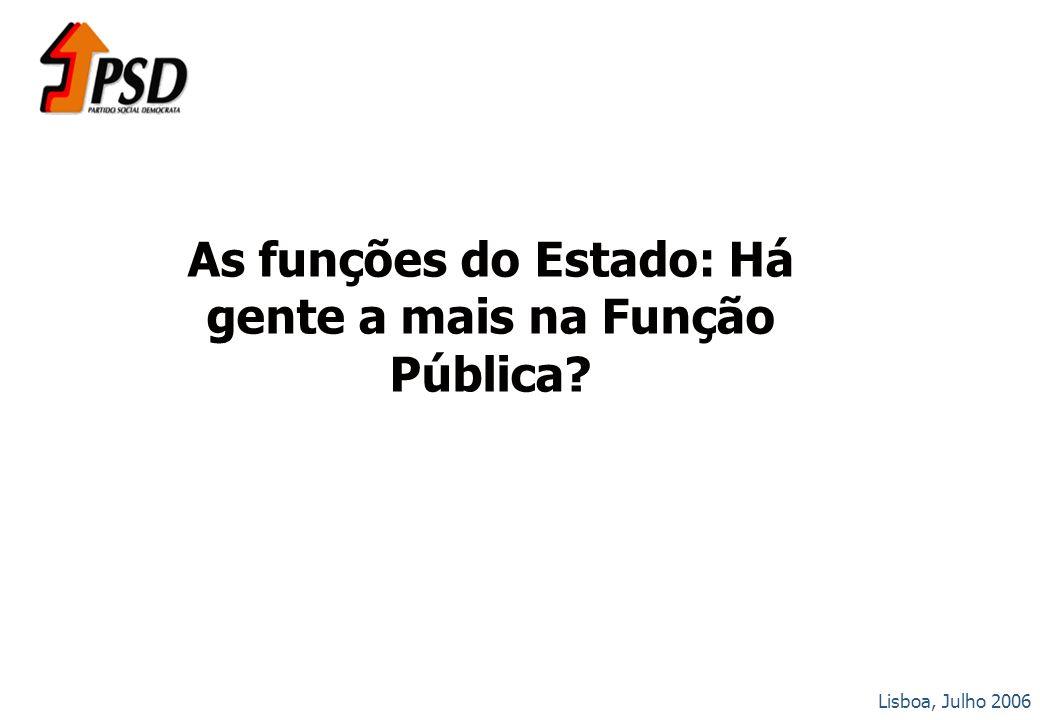Lisboa, Julho 2006 As funções do Estado: Há gente a mais na Função Pública?