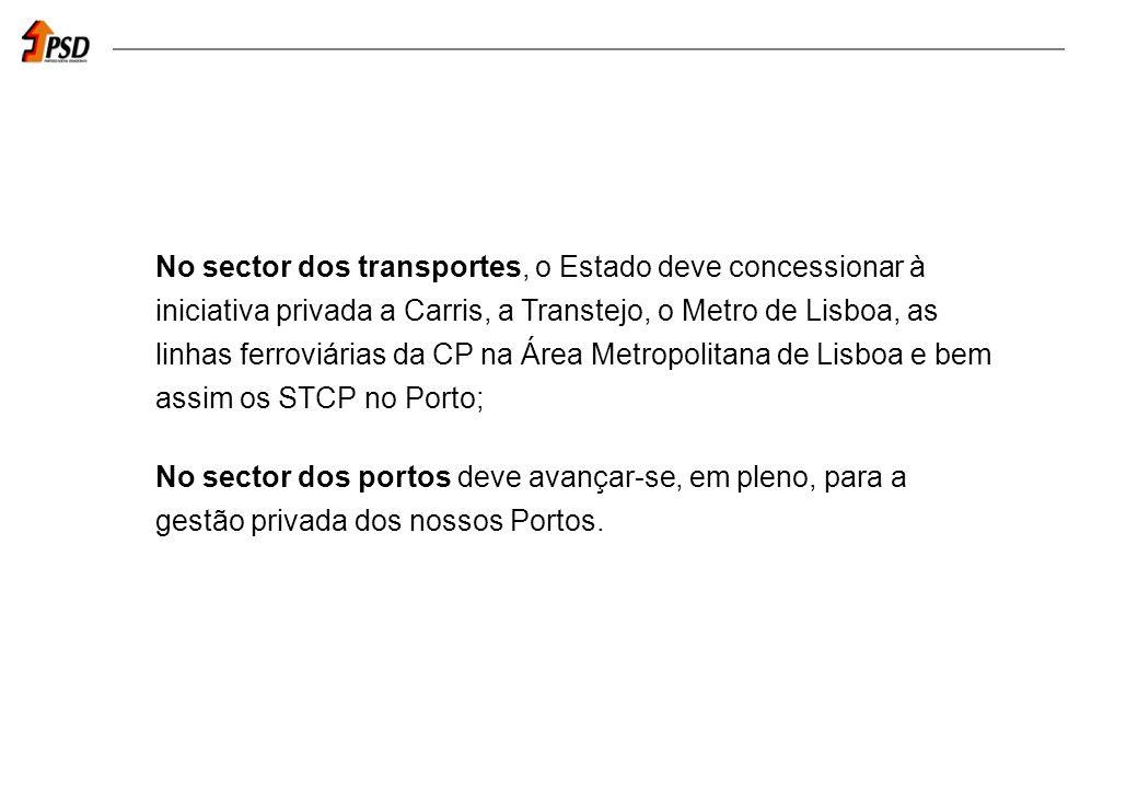 No sector dos transportes, o Estado deve concessionar à iniciativa privada a Carris, a Transtejo, o Metro de Lisboa, as linhas ferroviárias da CP na Área Metropolitana de Lisboa e bem assim os STCP no Porto; No sector dos portos deve avançar-se, em pleno, para a gestão privada dos nossos Portos.