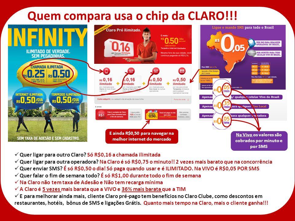 Na Vivo os valores são cobrados por minuto e por SMS Quem compara usa o chip da CLARO!!! Quer ligar para outro Claro? Só R$0,16 a chamada ilimitada Qu