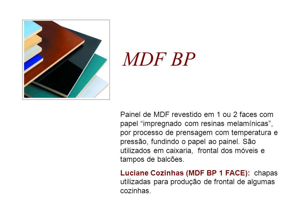 MDF BP Painel de MDF revestido em 1 ou 2 faces com papel impregnado com resinas melamínicas, por processo de prensagem com temperatura e pressão, fund