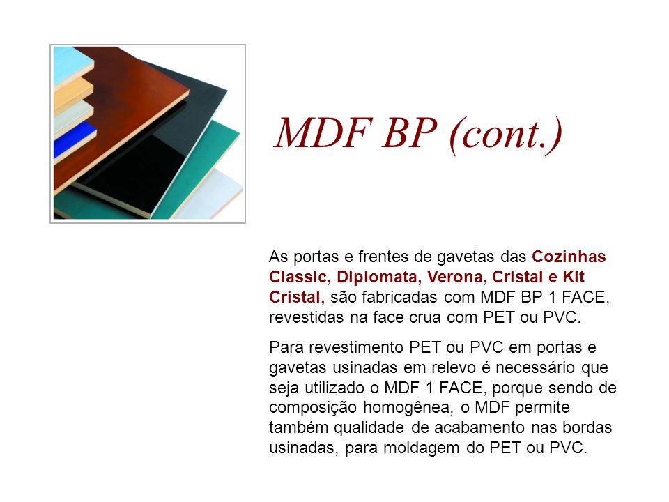 MDF BP (cont.) As portas e frentes de gavetas das Cozinhas Classic, Diplomata, Verona, Cristal e Kit Cristal, são fabricadas com MDF BP 1 FACE, revest