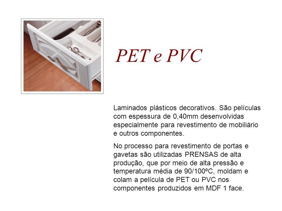 PET e PVC Laminados plásticos decorativos. São películas com espessura de 0,40mm desenvolvidas especialmente para revestimento de mobiliário e outros