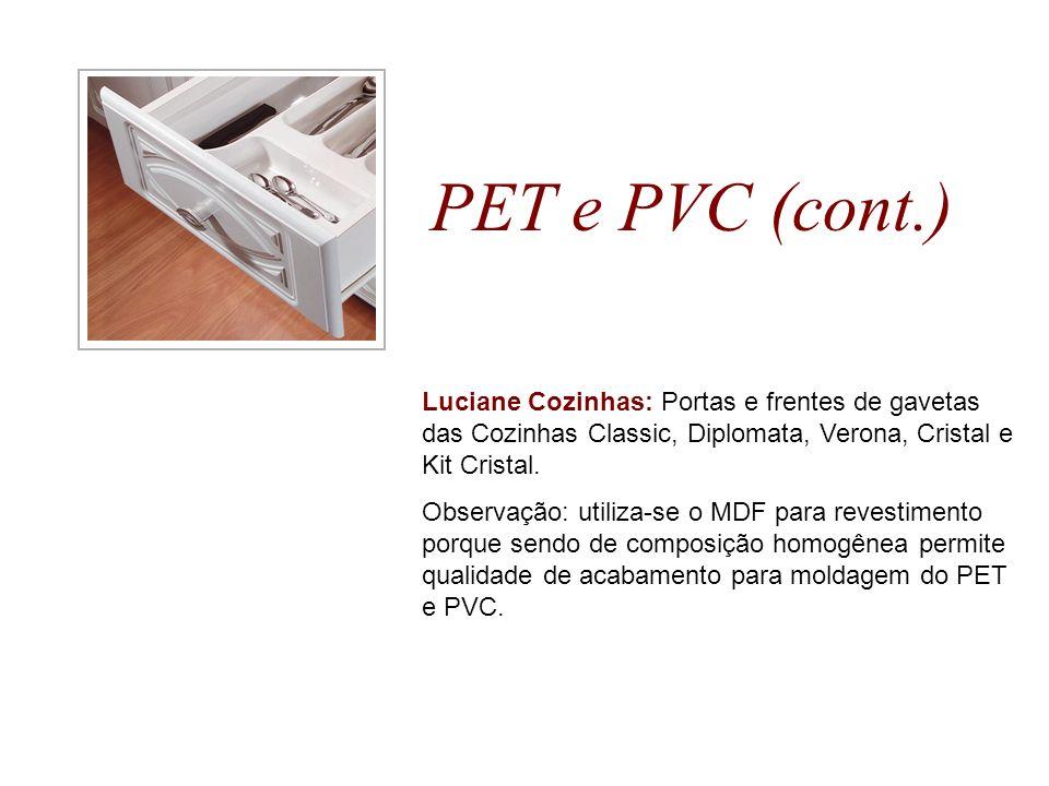 PET e PVC (cont.) Luciane Cozinhas: Portas e frentes de gavetas das Cozinhas Classic, Diplomata, Verona, Cristal e Kit Cristal. Observação: utiliza-se
