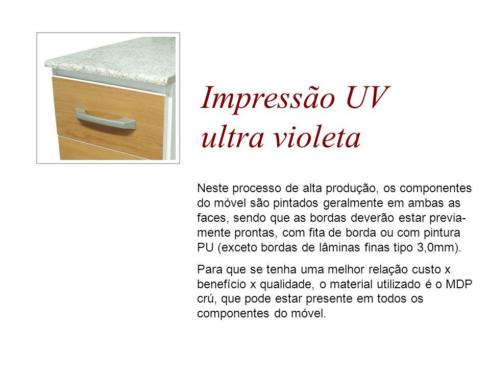 Impressão UV ultra violeta Neste processo de alta produção, os componentes do móvel são pintados geralmente em ambas as faces, sendo que as bordas dev