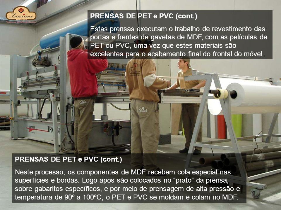 PRENSAS DE PET e PVC (cont.) Estas prensas executam o trabalho de revestimento das portas e frentes de gavetas de MDF, com as películas de PET ou PVC,