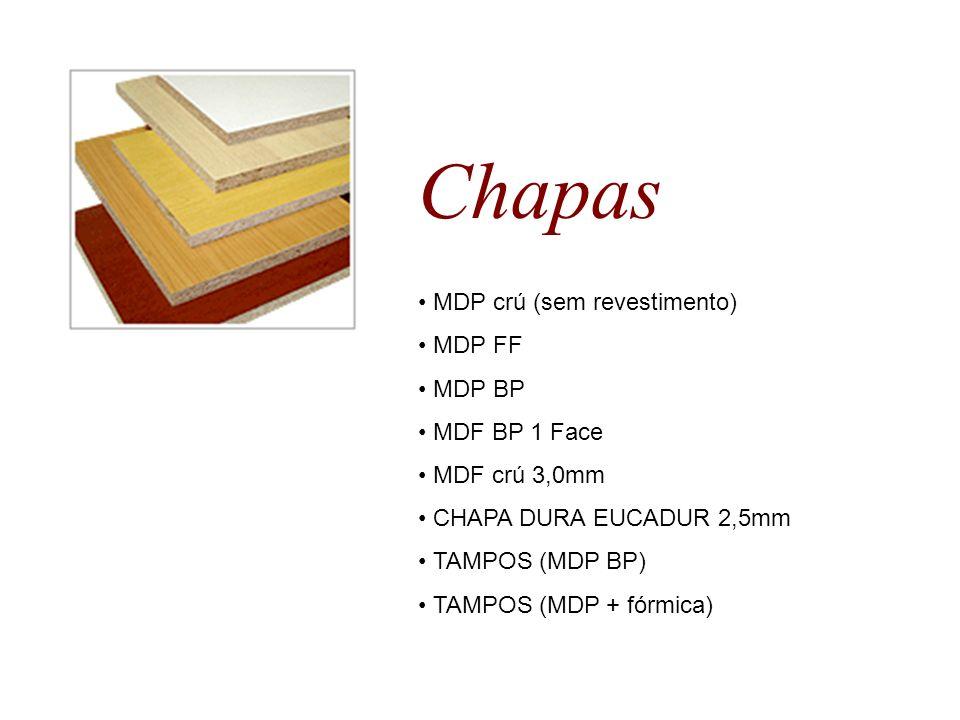 Chapas MDP crú (sem revestimento) MDP FF MDP BP MDF BP 1 Face MDF crú 3,0mm CHAPA DURA EUCADUR 2,5mm TAMPOS (MDP BP) TAMPOS (MDP + fórmica)
