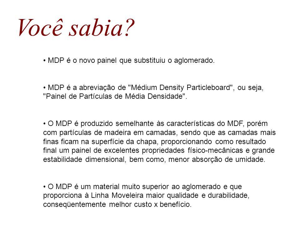 MDP é o novo painel que substituiu o aglomerado. MDP é a abreviação de