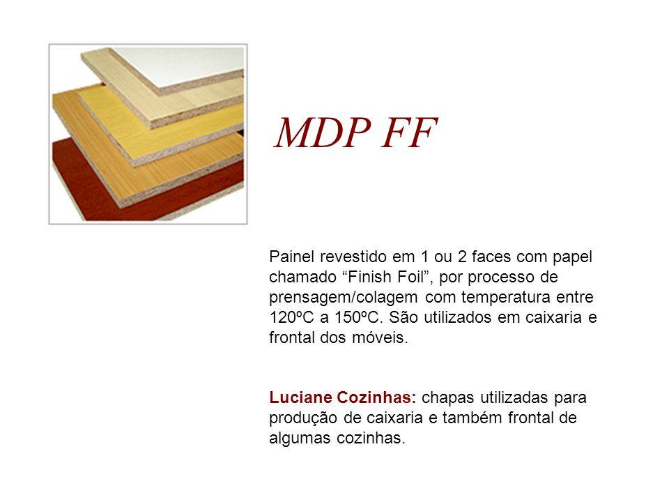 MDP FF Painel revestido em 1 ou 2 faces com papel chamado Finish Foil, por processo de prensagem/colagem com temperatura entre 120ºC a 150ºC. São util
