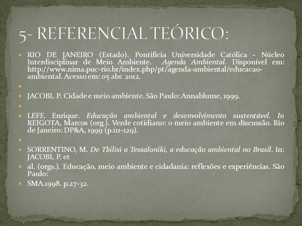 RIO DE JANEIRO (Estado). Pontifícia Universidade Católica - Núcleo Interdisciplinar de Meio Ambiente. Agenda Ambiental. Disponível em: http://www.nima