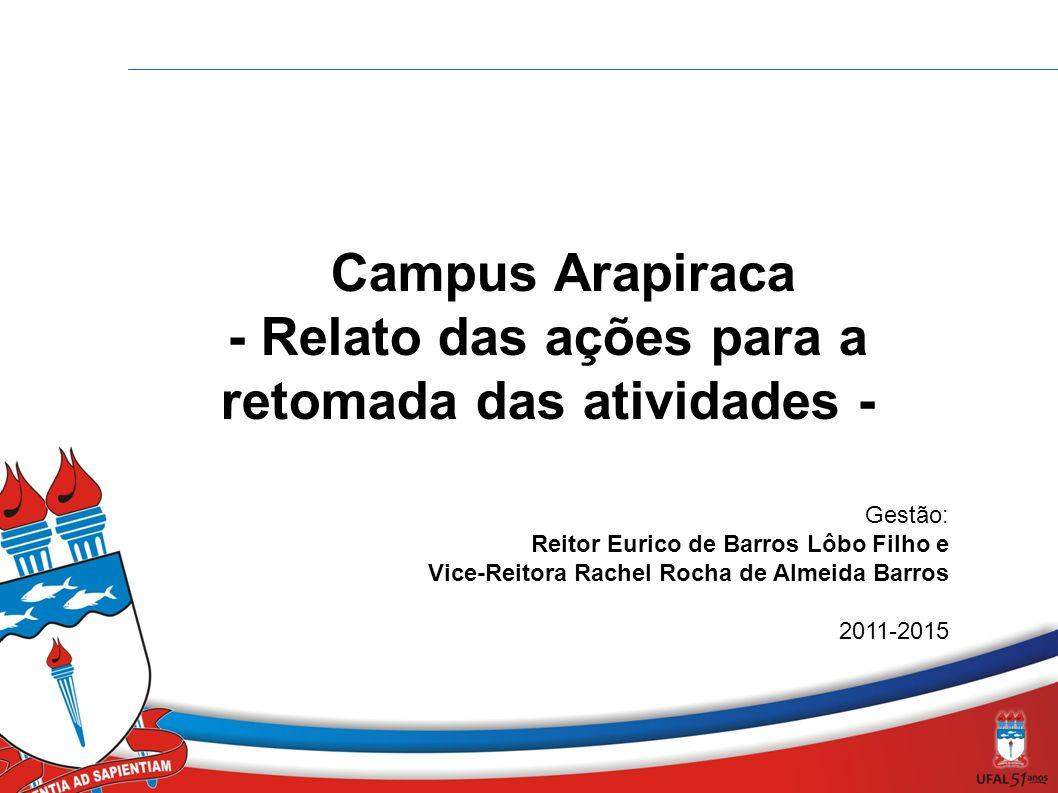 Campus Arapiraca - Relato das ações para a retomada das atividades - Gestão: Reitor Eurico de Barros Lôbo Filho e Vice-Reitora Rachel Rocha de Almeida Barros 2011-2015