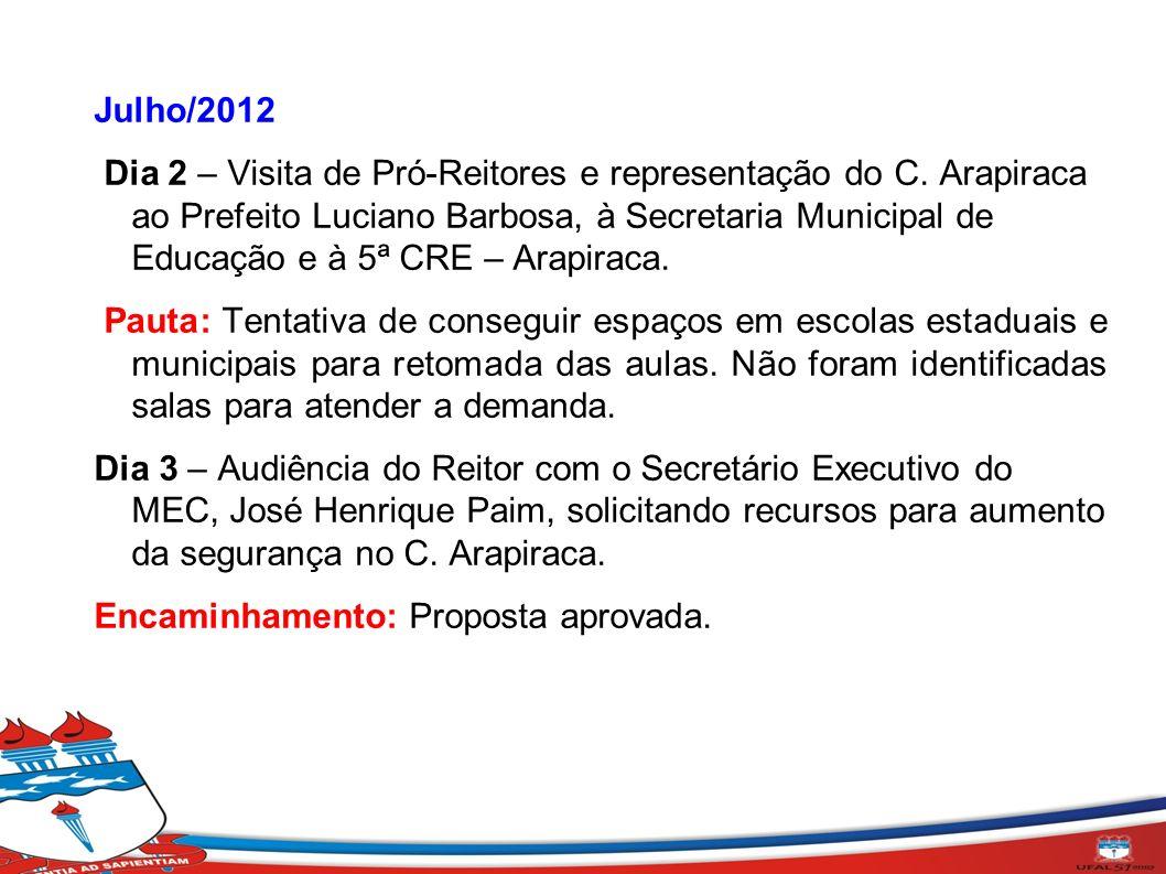 Julho/2012 Dia 2 – Visita de Pró-Reitores e representação do C. Arapiraca ao Prefeito Luciano Barbosa, à Secretaria Municipal de Educação e à 5ª CRE –