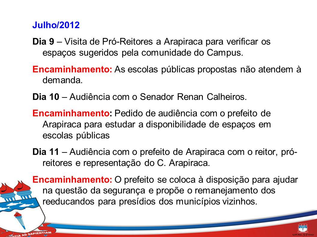 Julho/2012 Dia 9 – Visita de Pró-Reitores a Arapiraca para verificar os espaços sugeridos pela comunidade do Campus. Encaminhamento: As escolas públic