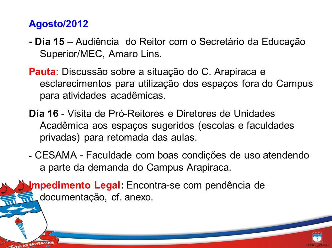 Agosto/2012 - Dia 15 – Audiência do Reitor com o Secretário da Educação Superior/MEC, Amaro Lins. Pauta: Discussão sobre a situação do C. Arapiraca e