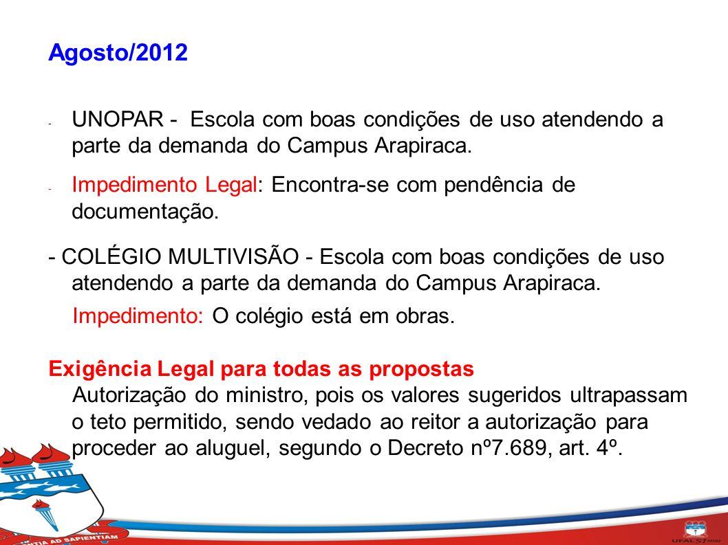 Agosto/2012 - UNOPAR - Escola com boas condições de uso atendendo a parte da demanda do Campus Arapiraca. - Impedimento Legal: Encontra-se com pendênc