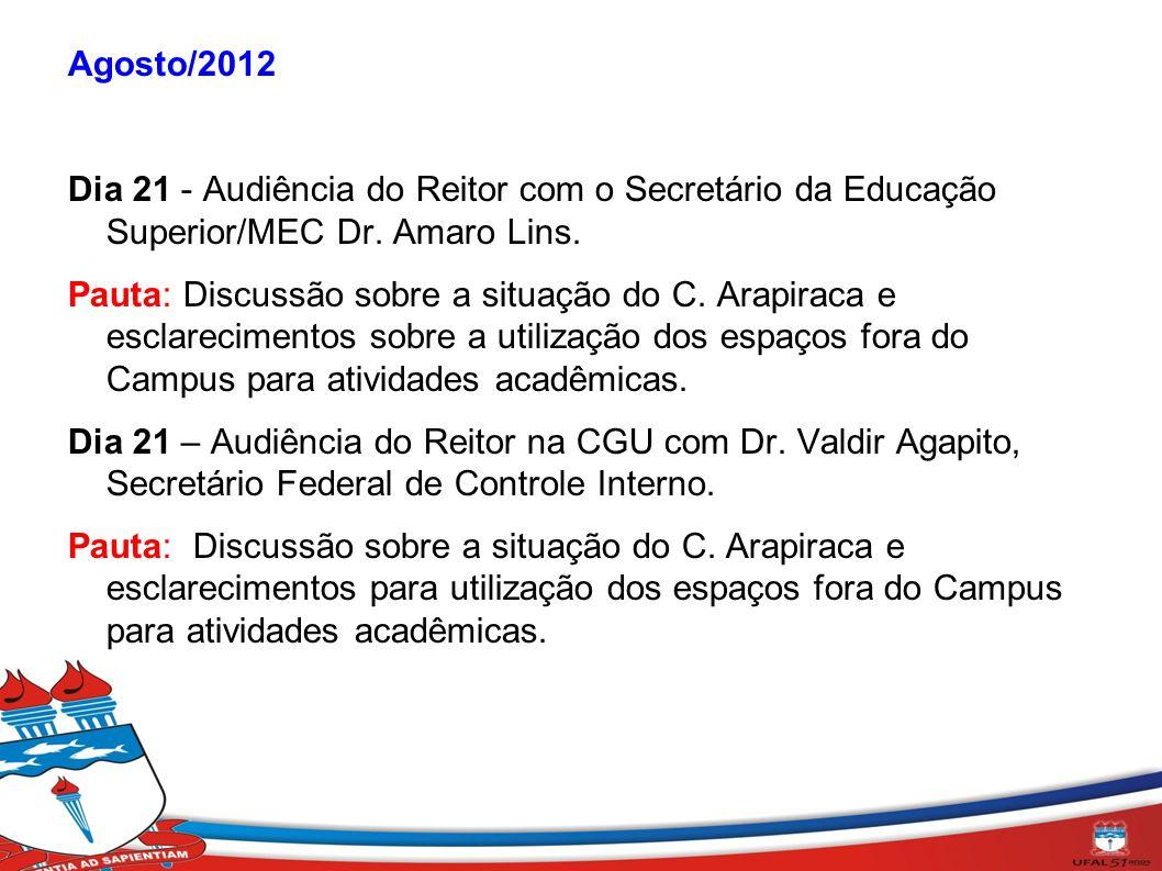 Agosto/2012 Dia 21 - Audiência do Reitor com o Secretário da Educação Superior/MEC Dr. Amaro Lins. Pauta: Discussão sobre a situação do C. Arapiraca e