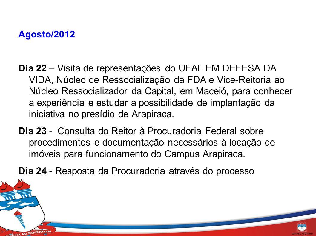 Agosto/2012 Dia 22 – Visita de representações do UFAL EM DEFESA DA VIDA, Núcleo de Ressocialização da FDA e Vice-Reitoria ao Núcleo Ressocializador da