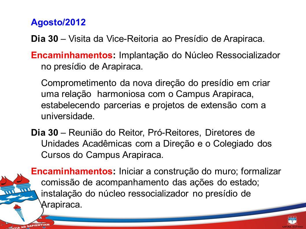 Agosto/2012 Dia 30 – Visita da Vice-Reitoria ao Presídio de Arapiraca. Encaminhamentos: Implantação do Núcleo Ressocializador no presídio de Arapiraca
