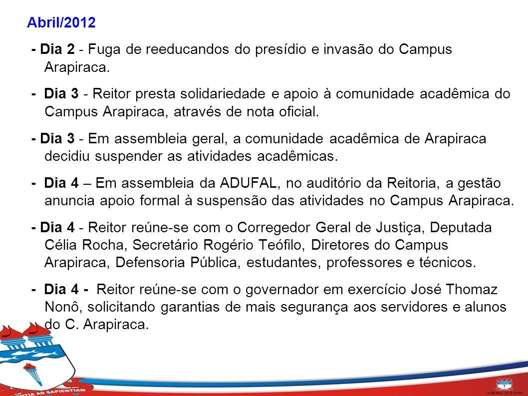 Abril/2012 - Dia 2 - Fuga de reeducandos do presídio e invasão do Campus Arapiraca. - Dia 3 - Reitor presta solidariedade e apoio à comunidade acadêmi