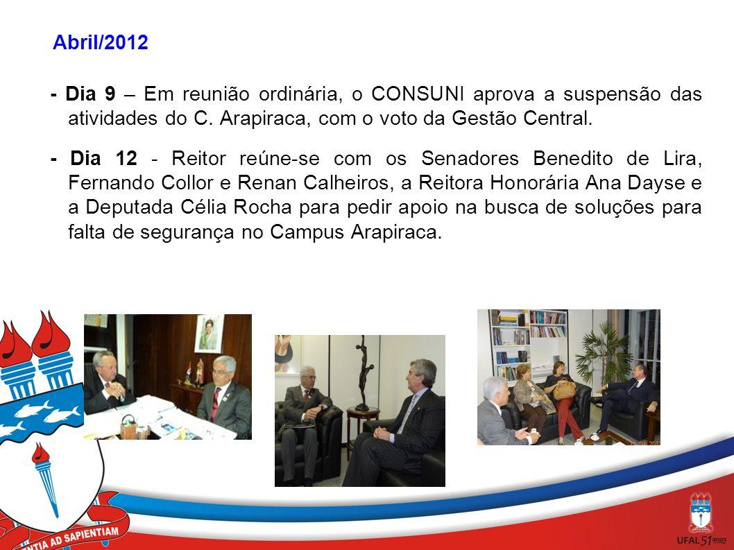' Abril/2012 - Dia 9 – Em reunião ordinária, o CONSUNI aprova a suspensão das atividades do C. Arapiraca, com o voto da Gestão Central. - Dia 12 - Rei