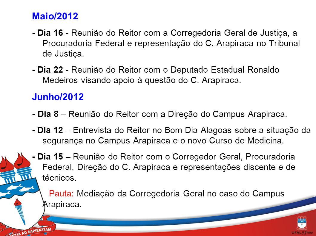 Maio/2012 - Dia 16 - Reunião do Reitor com a Corregedoria Geral de Justiça, a Procuradoria Federal e representação do C. Arapiraca no Tribunal de Just